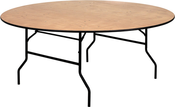 72'' Round Wood Folding Banquet Table with Clear Coated Finished Top