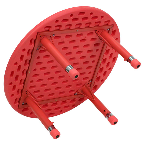 33'' Round Red Plastic Height Adjustable Activity Table
