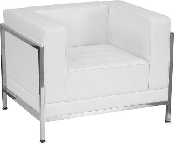 TYCOON Imagination Series Contemporary Melrose White Leather Chair with Encasing Frame