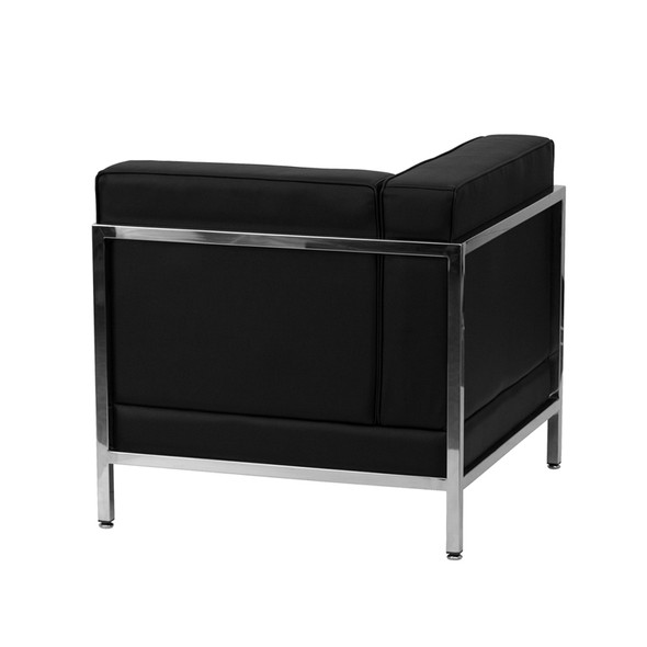 TYCOON Imagination Series Contemporary Black Leather Left Corner Chair with Encasing Frame