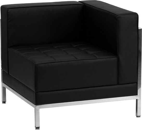 TYCOON Imagination Series Contemporary Black Leather Right Corner Chair with Encasing Frame