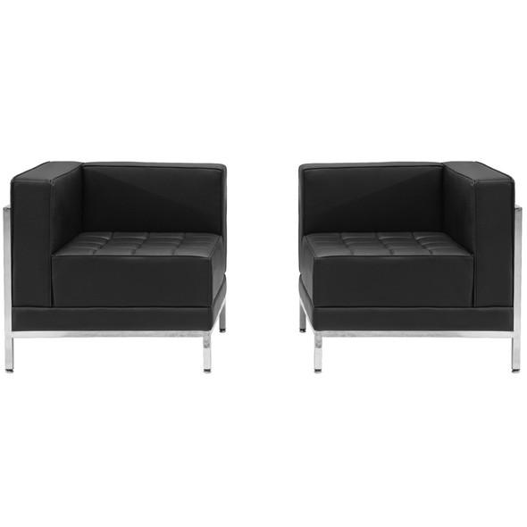 TYCOON Imagination Series Black Leather 2 Piece Corner Chair Set