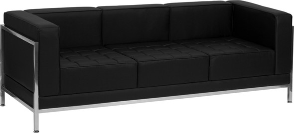 TYCOON Imagination Series Contemporary Black Leather Sofa with Encasing Frame