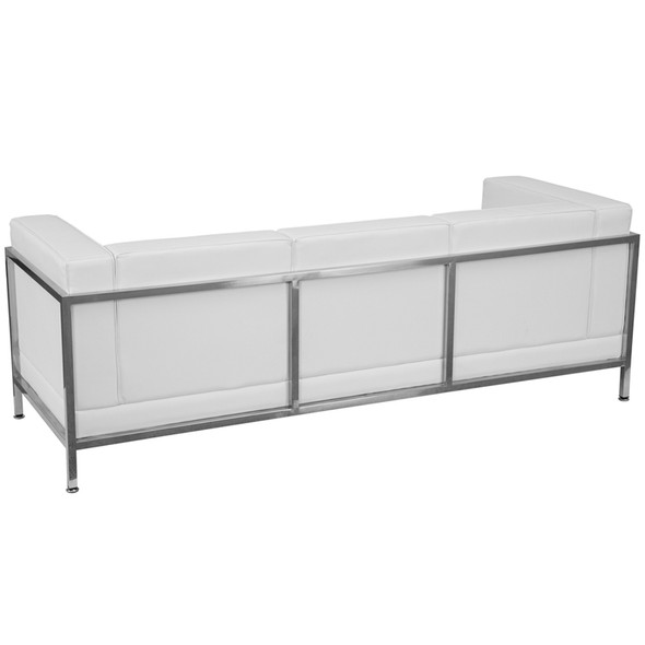 TYCOON Imagination Series Contemporary Melrose White Leather Sofa with Encasing Frame