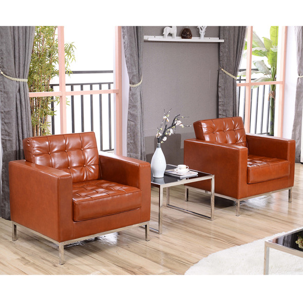 TYCOON Lacey Series Contemporary Cognac Leather Chair with Stainless Steel Frame