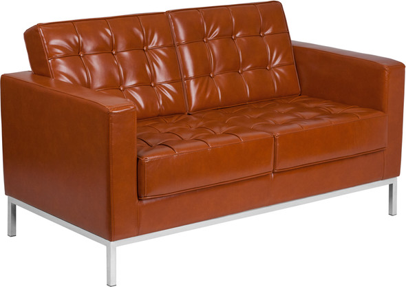 TYCOON Lacey Series Contemporary Cognac Leather Loveseat with Stainless Steel Frame