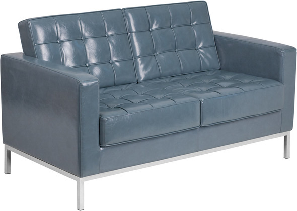 TYCOON Lacey Series Contemporary Gray Leather Loveseat with Stainless Steel Frame