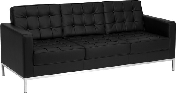 TYCOON Lacey Series Contemporary Black Leather Sofa with Stainless Steel Frame
