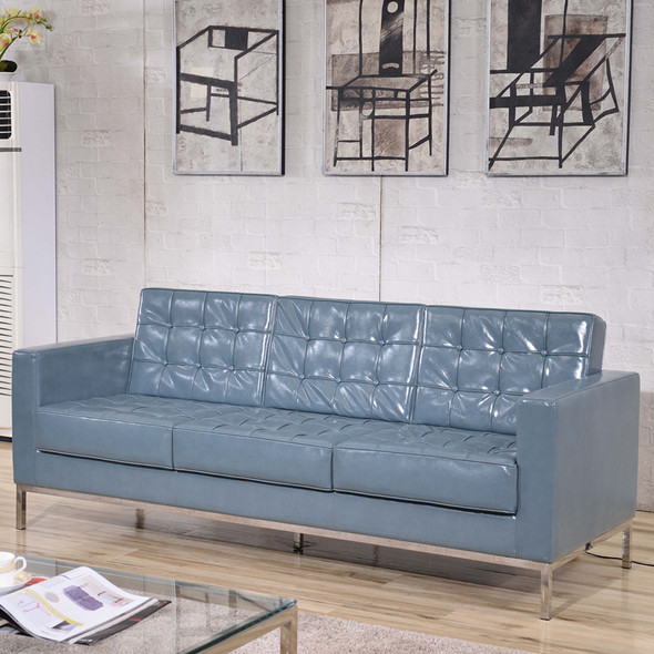 TYCOON Lacey Series Contemporary Gray Leather Sofa with Stainless Steel Frame