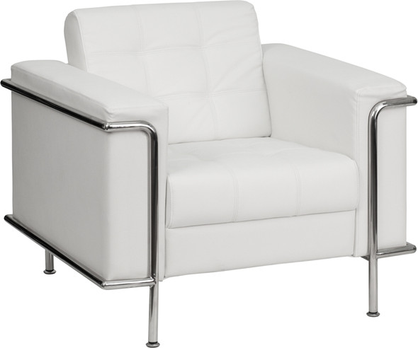 TYCOON Lesley Series Contemporary Melrose White Leather Chair with Encasing Frame
