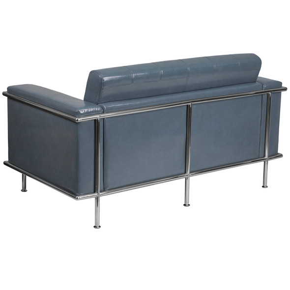 TYCOON Lesley Series Contemporary Gray Leather Loveseat with Encasing Frame