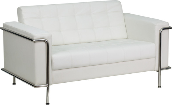 TYCOON Lesley Series Contemporary Melrose White Leather Loveseat with Encasing Frame