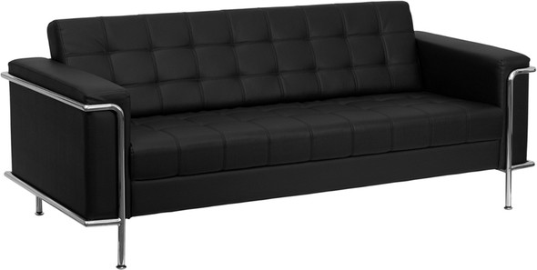 TYCOON Lesley Series Contemporary Black Leather Sofa with Encasing Frame