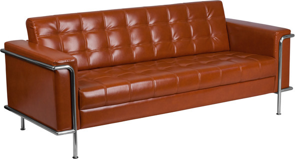 TYCOON Lesley Series Contemporary Cognac Leather Sofa with Encasing Frame