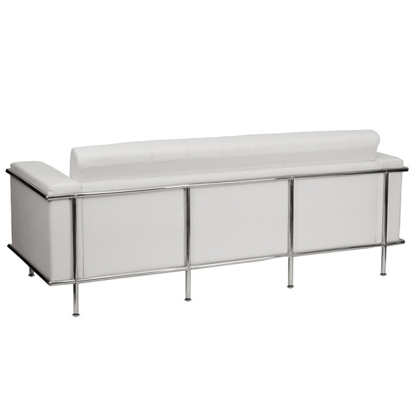 TYCOON Lesley Series Contemporary Melrose White Leather Sofa with Encasing Frame