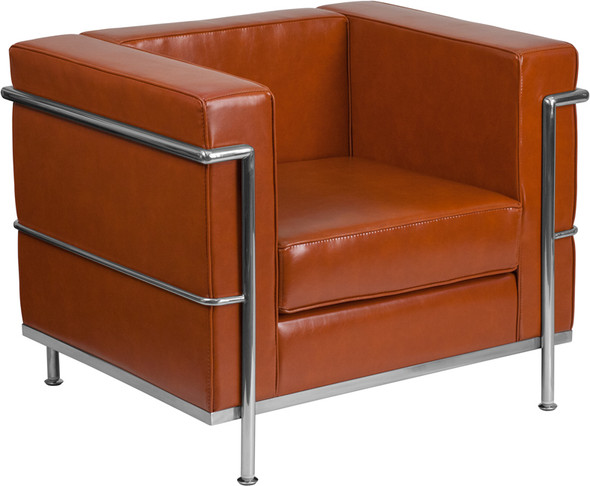 TYCOON Regal Series Contemporary Cognac Leather Chair with Encasing Frame