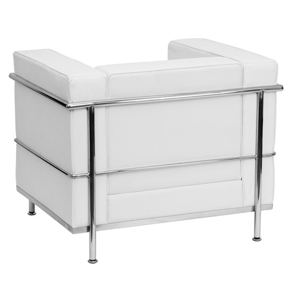 TYCOON Regal Series Contemporary Melrose White Leather Chair with Encasing Frame