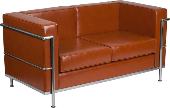 TYCOON Regal Series Contemporary Cognac Leather Loveseat with Encasing Frame