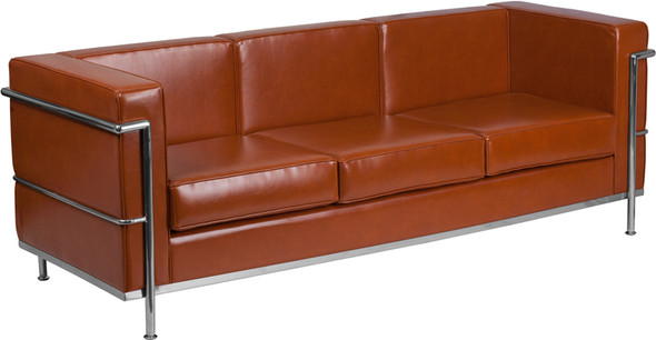 TYCOON Regal Series Contemporary Cognac Leather Sofa with Encasing Frame