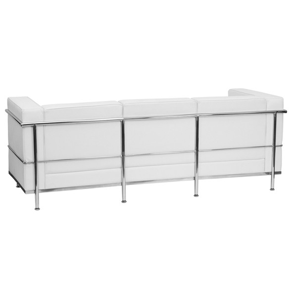 TYCOON Regal Series Contemporary Melrose White Leather Sofa with Encasing Frame