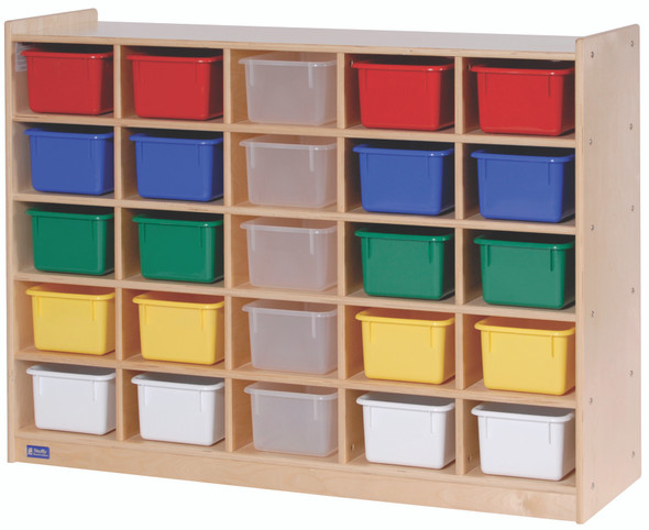Value Line® Birch 25-Tray Cubby Storage with Multi-Colored Trays