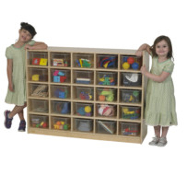Value Line® Birch 25-Tray Cubby Storage with Clear Trays