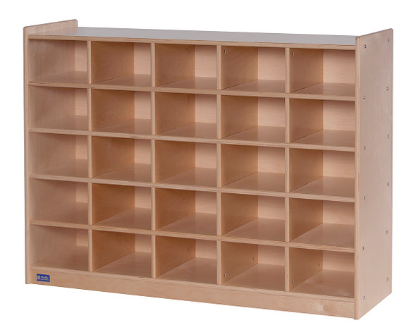 Value Line® Birch 25-Tray Cubby Storage with Opaque Trays