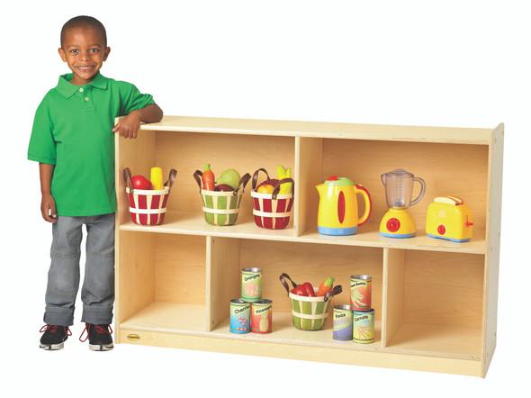 "Value Line® Birch 30""H Mobile Divided 2-Shelf Storage"