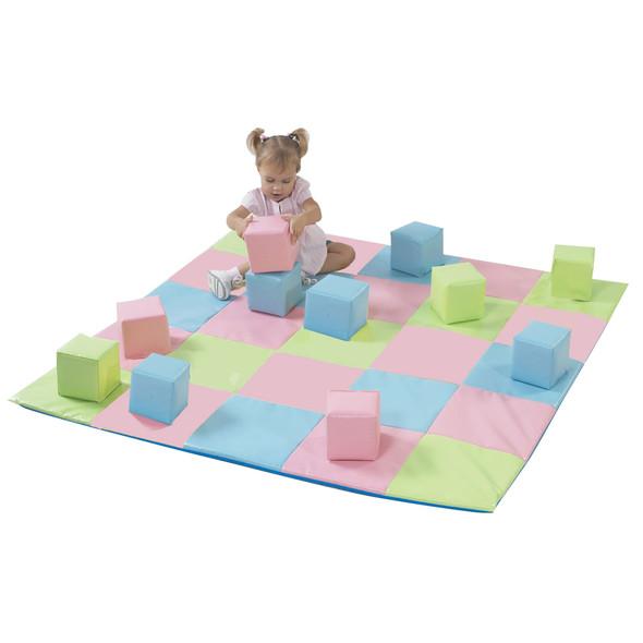 Patchwork Mat & 12 Pc. Block Set - Pastel