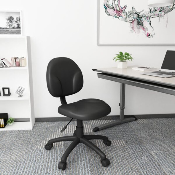 Boss Diamond Task Chair In Black Antimicrobial Vinyl
