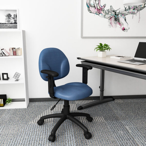 Boss Diamond Task Chair In Blue W/ Adjustable Arms