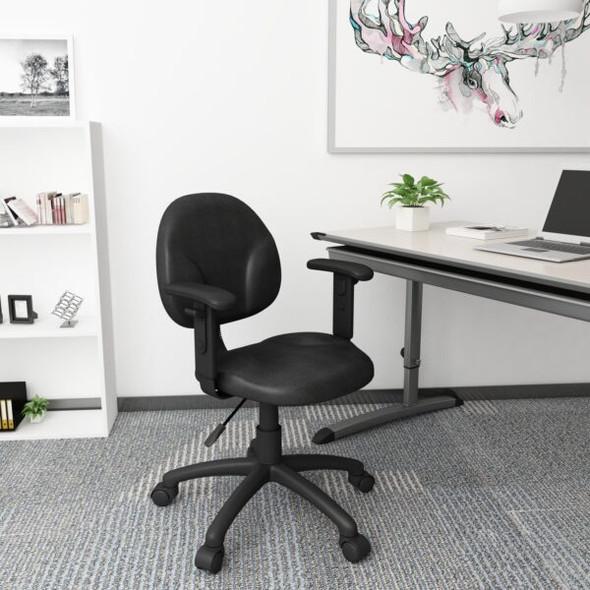 Boss Diamond Task Chair In Black W/ Adjustable Arms