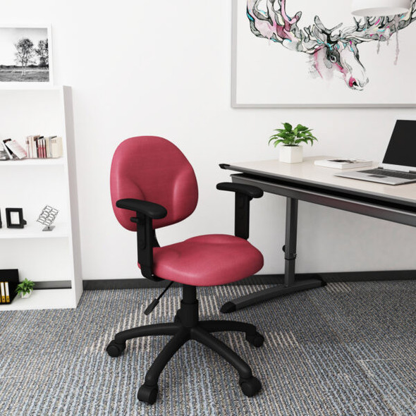 Boss Diamond Task Chair In Burgundy W/ Adjustable Arms