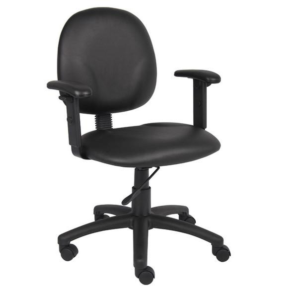 Boss Diamond Task Chair In Black Antimicrobial Vinyl W/ Adjustable Arms