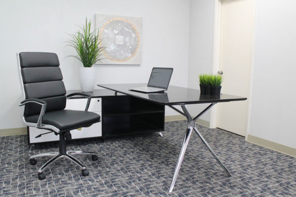 Boss Executive CaressoftPlus™ Chair with Metal Chrome Finish Black