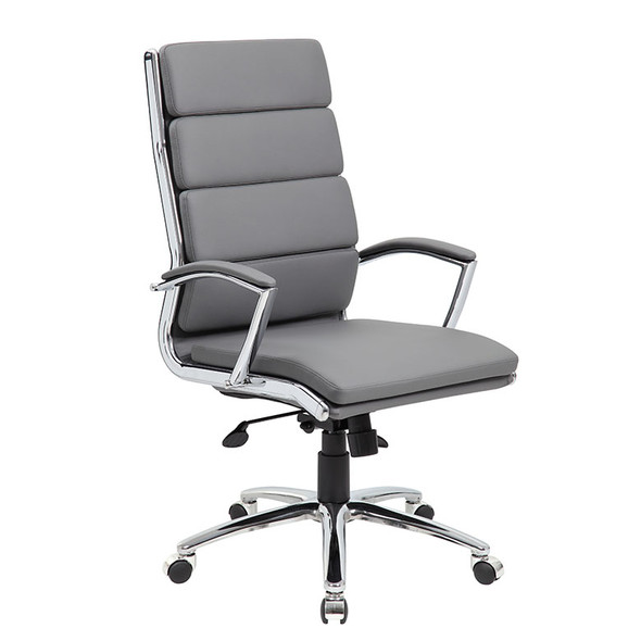 Boss Executive CaressoftPlus™ Chair with Metal Chrome Finish Grey