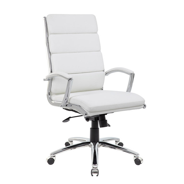 Boss Executive CaressoftPlus™ Chair with Metal Chrome Finish White