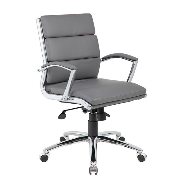 Boss Executive CaressoftPlus™ Chair with Metal Chrome Finish - Mid Back Grey