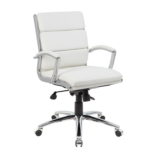 Boss Executive CaressoftPlus™ Chair with Metal Chrome Finish - Mid Back White