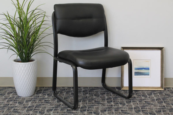 Boss Leather Sled Base Side Chair W/ Arms and Padded Armrests