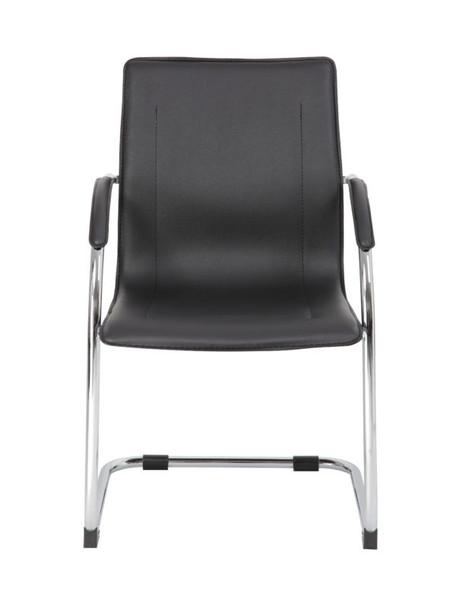 Boss Chrome Frame Black Vinyl Side Chair, 2pcs Per Pack
