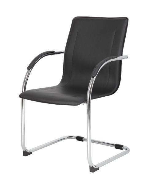 Boss Chrome Frame Black Vinyl Side Chair, 4Pcs Per Pack