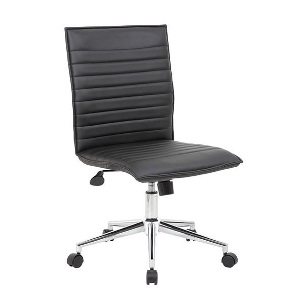 Boss Black Vinyl Armless Hospitality Chair