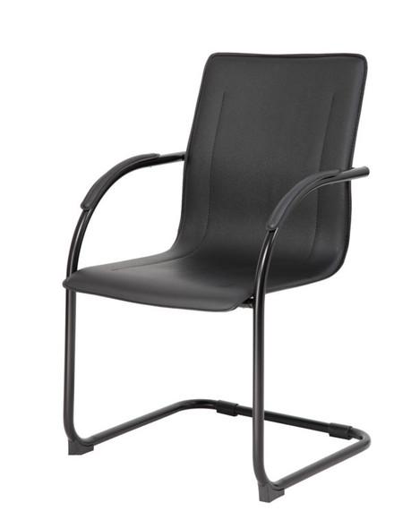 Boss Black Frame Black Vinyl Side Chair, 2 pcs Per Pack