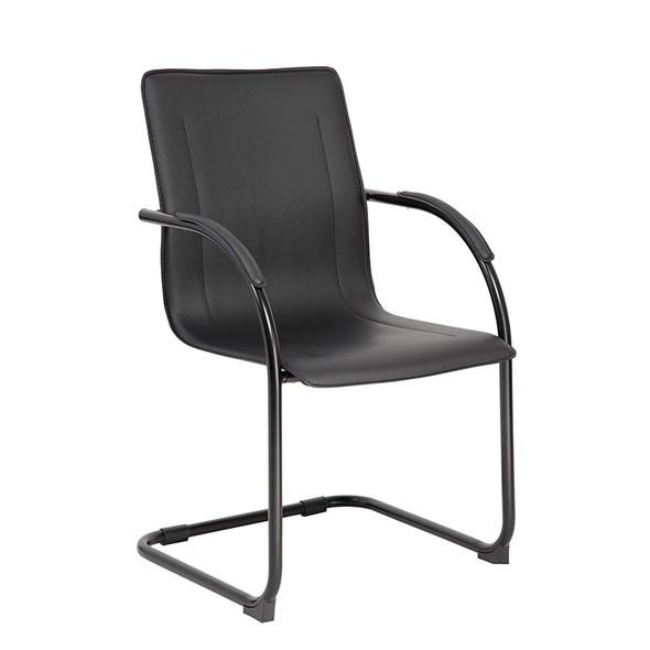 Boss Black Frame Black Vinyl Side Chair, 4Pcs Per Pack