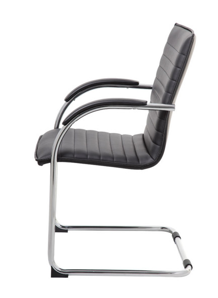 Boss Chrome Frame, Black Vinyl Side Chair, 2 pack