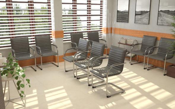 Boss Chrome Frame, Grey Vinyl Side Chair, 2 pack
