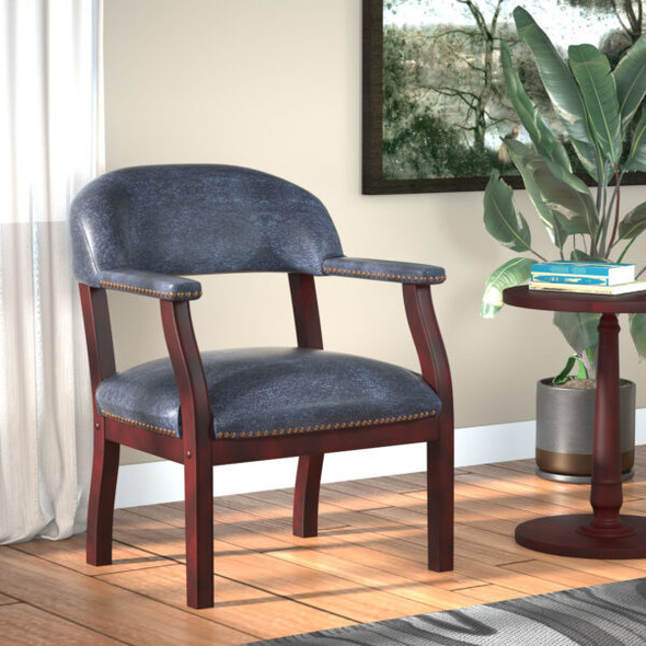 Boss Captain's guest, accent or dining chair in Blue Vinyl