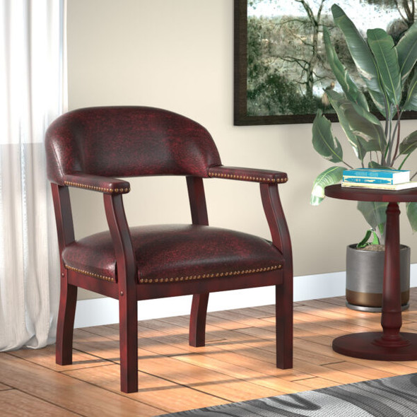 Boss Captain's guest, accent or dining chair in Burgundy Vinyl