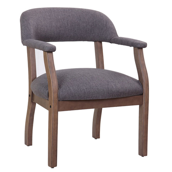 Boss Modern Captain's guest, accent or dining chair in Slate Grade Commercial Grade Linen